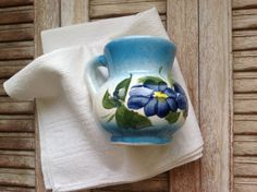 Small Creamer Vintage milk pitcher / small pitcher with blue
