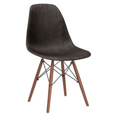 Lanna Furniture Woven Belo Dining Chair with Walnut Legs