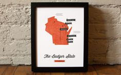 Wisconsin State Map by These Are Things