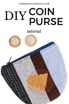 Love working with your fabric scraps? Stitch up a sashiko inspired coin purse with this free coin purse pattern. the step by step tutorial will teach you how to sew a coin purse with zipper. Sewing Hacks, Sewing Tutorials, Sewing Projects, Sewing Tips, Diy Coin Purse, Coin Purse Pattern, Bag Patterns To Sew, Sewing Patterns, Diy Purse Tutorial