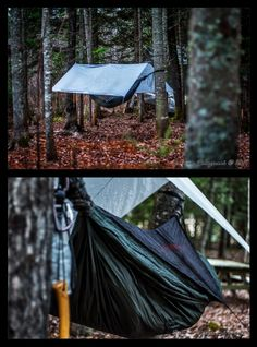Hammock camping in late fall. Hennessey Hammock a-sym zip, snake skins, Wetterlings axe, dry bag, silnylon tarp and a comfortable night ahead! http://benvisart.blogspot.ca