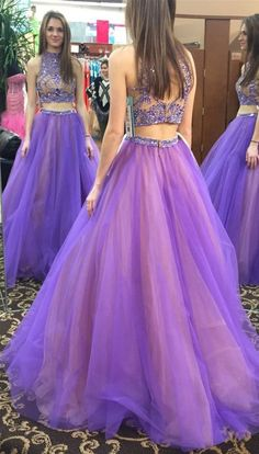 Stylish Two Piece High Neck Floor-Length Prom Dress with Beading Open Back,Purple prom dresses,new prom dresses 2016,beaded evening dresses,