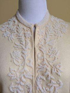 Lovely Ivory Vintage Beaded Sweater by MonroeSurplus on Etsy - $45