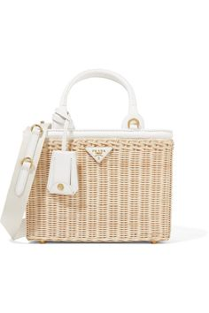 Beige wicker, white canvas and leather (Calf) Zip fastening along top Weighs approximately 2lbs/ 0.9kg Made in Italy