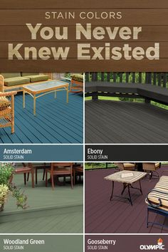 These days, picking a stain isn't just about choosing an opacity—it's also about color. In fact, the right shade can do a lot to elevate the look of your outdoor space. Take, for instance, these four unexpected solid stain colors: Amsterdam, Ebony, Woodland Green and Gooseberry. Depending on your taste and outdoor furniture, a bold stain color can turn your deck into a space that turns heads.