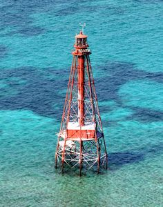 I saw this as we were driving across a bridge, but wasn't sure what it was. The next day we went to Sombrero Beach and found out it was a lighthouse.  Marathon Key, FL