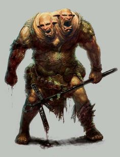 Ettin / Two headed Troll Dark Fantasy, Fantasy Rpg, Medieval Fantasy, Mythological Creatures, Mythical Creatures, Dnd Monsters, Forgotten Realms, Fantasy Races, Creature Concept