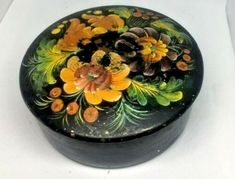 Antique Vintage Detailed wooden Jewelry Round Box Hand Painted Russian Folk ART | eBay