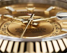 The champagne-colour dial of the Rolex Sky-Dweller.