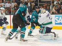 San Jose Sharks forwards Tyler Kennedy + Tomas Hertl look for a rebound (Oct. 3, 2013).