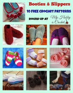 My Hobby Is Crochet: 10 Free Slippers/Booties Crochet Patterns for big and small feet - Round up on My Hobby is Crochet Blog