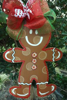 Gingerbread Boy & Girl Combo, Gingerbread Man Door Hanger, Christmas Door Hanger, Gingerbread Girl Door Hanger, Personalized Christmas Decor