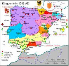 Map of Spain 1086 AD                                                                                                                                                                                 Más