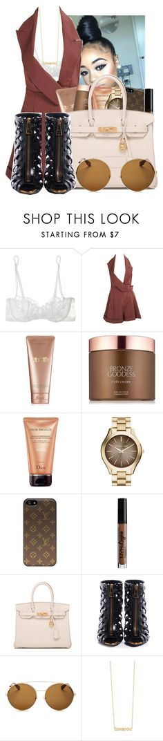 """🥃 pass the courvoisier"" by kenndrips ❤ liked on Polyvore featuring La Perla, John Galliano, La Mer, Estée Lauder, Christian Dior, MICHAEL Michael Kors, NYX, Hermès, Tom Ford and Givenchy"
