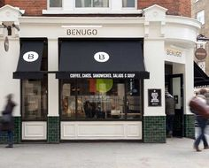 BENUGO - by Ico Design // to help the company grow their brand on the high street by creating a flexible visual identity that could also be used in its museums, galleries etc. The process started with an in-depth visual audit and a strategic review. // cafe / restaurant /coffee shop / black and white / English / logo / identity / marketing / simple and clean / black and bold / outdoor signage / store front view