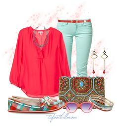 """""""Turquoise & Coral Flats"""" by tufootballmom on Polyvore"""