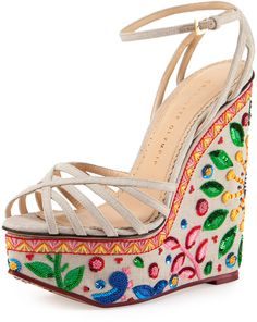Charlotte Olympia Celebration Meredith Embroidered-Wedge Sandals at Bergdorf Goodman