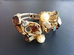 JULIANA Vintage Bracelet Clamper Flower Leaf Swirl Rhinestone Pearl Gold Tn 3218
