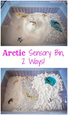 An arctic sensory bin done two ways, the messy way and the clean(er) way!