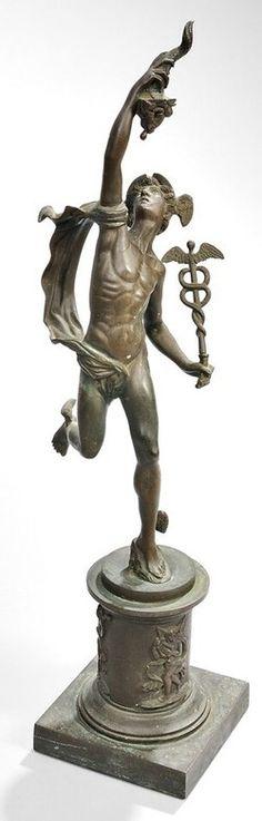 Bronze Sculpture; Grand Tour, after Giambologna, Figure of Mercury Holding Caduceus, 23 inch.
