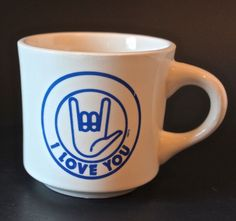 Vintage I Love You Sign Language Ceramic Coffee Tea Cup Mug Made In USA