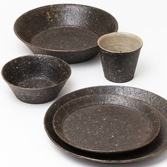 "Time and Style ""Ishime"" Clay Dishes. Cup: TN001 φ85×H70. Bowl Small: TN002 φ120×H45, Plate Medium: TN003 φ180×H25. Plate Large: TN004 φ240×H28. Bowl Large: TN005 φ210×H55"