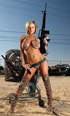 Penny Mathis - Cobra girl - M16 or AR15 - Biig Boobs Busty sexy babe