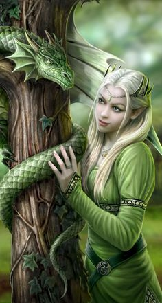 Anne Stokes - Amazing is the only way to describe her artwork that and I love the fantasy theme./ small green dragons in my fantasy world are healing dragons. they are really smaller than this dragon, kitten sized. Anne Stokes, Elfen Fantasy, 3d Fantasy, Fantasy World, Fantasy Images, Unicorn Fantasy, Fantasy Mermaids, Fantasy Artwork, Dragons