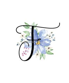 Monogram F Beautiful Watercolor Blue Flower by floralmonogra Watercolor Trees, Watercolor Animals, Watercolor Cards, Watercolor Background, Watercolor Landscape, Abstract Watercolor, Watercolor Illustration, Watercolor Paintings, Simple Watercolor
