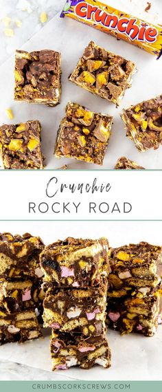 This decadent Crunchie Rocky Road is truly one of the easiest treats that you can make. Stuffed full of Digestive biscuits, marshmallows, cherries, honeycomb pieces and Crunchie chunks, it's a fun treat for everyone all year round! White Chocolate Recipes, Amazing Chocolate Cake Recipe, Easy Chocolate Desserts, Chocolate Crinkle Cookies, Brownie Desserts, Peanut Butter Desserts, Chocolate Treats, No Bake Desserts, Dessert Recipes