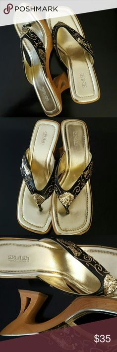 Splash Wooden Sandal Heels Splash Fashion Footwear, Trendy in Gold Tone Sequined Details, About 3 Inches Heels,  Used in Good Condition! Splash Shoes Sandals