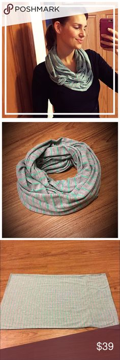 """LOFT grey/green cotton infinity scarf 📦Same day shipping (excluding Sun/holidays or orders placed after P.O. Closed) ❤️Save on shipping: Add all of your """"likes"""" to a bundle and submit an offer  A style staple year round. This light-weight cotton blend scarf is in Excellent condition: no holes or stains. This soft infinity scarf is gray with green stripes. It is 30"""" long and 19"""" wide laid flat. I am modeling the scarf looped one time to make 2 layers. ❤️ The tag has been removed as it was…"""