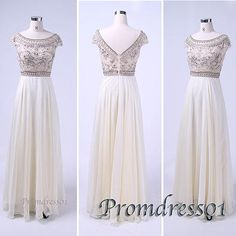 #promdress01 prom dresses - cute round neck open back vintage white chiffon long prom dress for teens, custom made ball gown