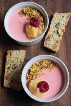 Raspberry possets, lemon curd and pistachio thins. Flan, Mousse, Lemon Curd, Lemon Posset Recipe, Pudding Desserts, Dessert Recipes, Just Desserts, Delicious Desserts, Panna Cotta