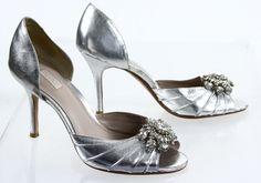 Glint Brand Silver Floral Gem Embellished D'Orsay Pump High Slim Heel 7.5M #Glint #PumpsClassics #SpecialOccasion