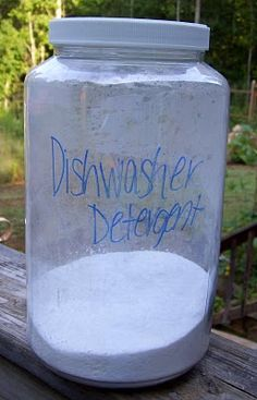 Homemade dishwasher detergent!  Love the simplicity of this recipe.