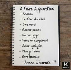 fr wp-content uploads 2015 12 Image-A-faire-aujourdhui-Studio-Karma. Positive Attitude, Positive Thoughts, Positive Vibes, Positive Quotes, Weekly Log, Miracle Morning, Quote Citation, French Quotes, Think