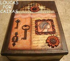 caixa scrap decor com carimbos para artesanato loucas por caixas - Loucas por caixas