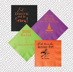 Halloween napkins, halloween party napkins, witch napkins, holiday napkins, halloween party decor by SequinsAndLipstick on Etsy