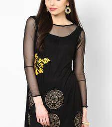 Buy Black Printed Viscose Knitted Kurta Kurti kurtas-and-kurti online