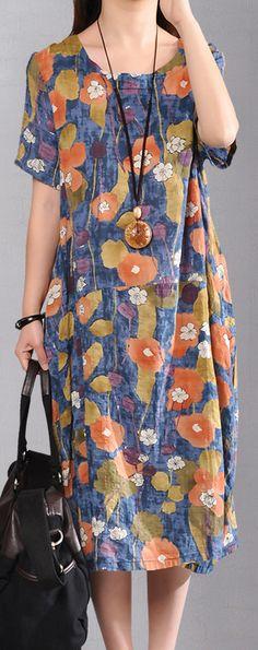 top quality blue linen maxi dress plus size patchwork cotton dresses Elegant prints caftans