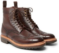 Shop Grenson Fred Burnished-Leather Brogue Boots on ShopStyle.com