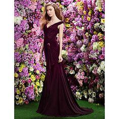 Formal Evening Dress Trumpet/Mermaid Off-the-shoulder Sweep/Brush Train Velvet Dress – USD $ 249.99