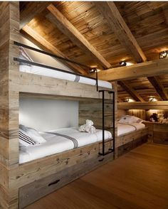 Bunk rooms began as a way to sleep many people in a small space. But with modern day design capabilities, bunk rooms often become the best hang out in the house! We chose a grouping of our favorite designs that definitely prove bunk rooms don't. Bunk Rooms, Kids Bunk Beds, Cabin Bunk Beds, Rustic Bunk Beds, Wooden Bunk Beds, Loft Spaces, Log Homes, My Dream Home, Future House