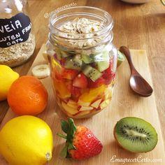 Salada de frutas no pote.A salada de frutas pode ser conservada por até 3 dias no pote e fica uma delícia. Veja como preparar.