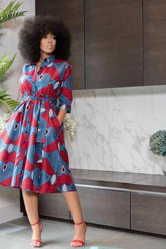 African Print Taavi Midi Dress Remilekun - African Styles for Ladies African Shirt Dress, African Print Shirt, African Maxi Dresses, Ankara Dress Styles, African Shirts, Latest African Fashion Dresses, African Dresses For Women, African Print Fashion, African Attire