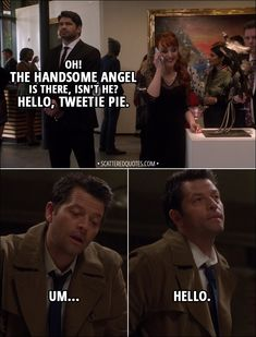 Quote from Supernatural │ he gets so flustered when anyone flirts with him. He would always be flustered around me. Best Supernatural Quotes, Supernatural Bloopers, Supernatural Tattoo, Supernatural Imagines, Supernatural Wallpaper, Supernatural Destiel, Castiel, Cw Tv Series, Spn Memes