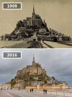 Horse Cart And Steam Locomotive, Mont Saint-Michel, France, 1908 - 2016 Mont Saint Michel France, Le Mont St Michel, Then And Now Pictures, Before And After Pictures, Rare Photos, Old Photos, Etretat Normandie, Saint Mathieu, Top Pic