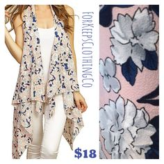 This is so cute! And perfect for Spring!!! Light pink with navy and white floral print, this vest fits anywhere from size 2 to size 10/12. Not quite as roomy in the underarms as our popular Jackie vest, but still super flowy! I love this!    Pair it with our white distressed jeans and our new blue clutch, and OMG!!! LOVE!!!    Only $18 with FREE SHIPPING in the USA! International orders welcome, rates will apply.    **Limited quantities** turnaround is always under a week! | Shop this…
