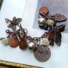Shells And Stones Chunky Charm Bracelet by TheBohemianGypsy, $48.00